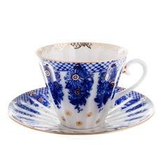 Чашка с блюдцем чайная, форма лучистая - корзиночка ЛФЗ
