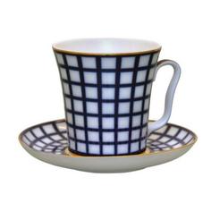 Бокал с блюдцем чайный, форма ленинградский - кобальтовая клетка Лфз