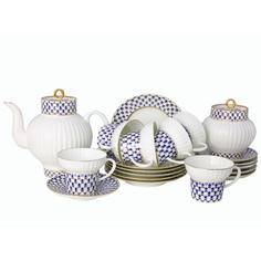 Сервиз чайный ЛФЗ, форма волна - кобальтовая сетка, 6 персон, 20 предметов
