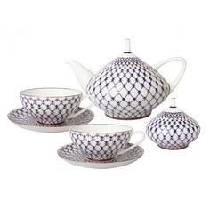 Сервиз чайный ЛФЗ, форма купольная - кобальтовая сетка, 6 персон, 14 предметов