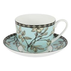 Чашка с блюдцем голубая 0.42л наталия The english mug