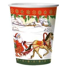 Стакан картонный Bulgaree Green Дед Мороз на санях