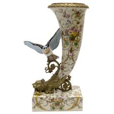 Ваза рог с птицей 41см Wah luen handicraft