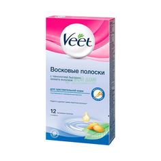 Восковые полоски Veet для депиляции для чувствительнойкожи 12шт (6/7508406)