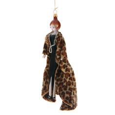 Игрушка елочная De carlini lady with leopard coat