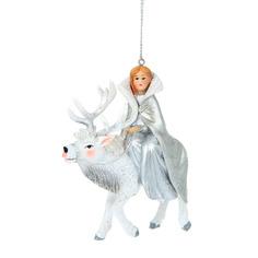 Игрушка елочная снежная королева на олене 8.5см Goodwill