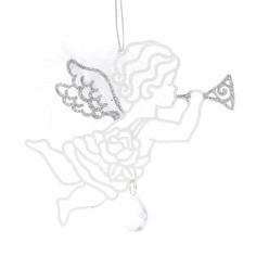 Украшение новогоднее ангел 13 см белый/серебро Weiste