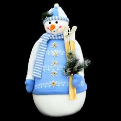 Фигурка Cheng kuo Снеговик с лыжами в бело-голубом