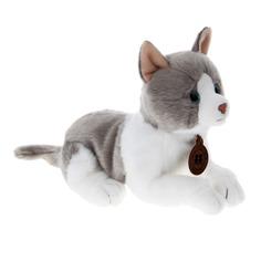 Мягкая игрушка АСР кот серый лежит 20 см Anna Club Plush