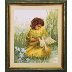 Вышивание Чарiвна мить Набор для вышивания девочка с голубем
