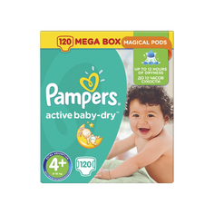 Подгузники Pampers Active Baby Dry 4 Maxi Plus (9-16 кг) 120 шт