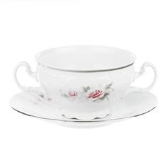 Чашка с блюдцем для бульона с ручками 180 мм; декор Бледные розы, отводка платина Thun1794