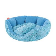 Лежак для собак геометрия Happy Puppy горошек голубой-1 40х35х15 см