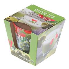 Свеча в стакане зеленый чай пудинг 115гр Бартек Bartek