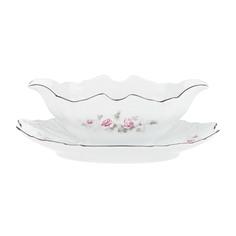 Соусник 500 мл; декор Бледные розы, отводка платина Thun1794