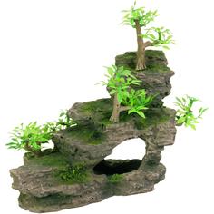 Грот для аквариумов Trixie Каменная лестница с растениями 19,5 см