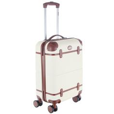 Чемодан пластиковый с кожаными ремешками Proffi travel tour vintage большой 76*56*285 см