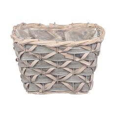 Кашпо Dekor pap плетеная корзина серая 21x15x17см