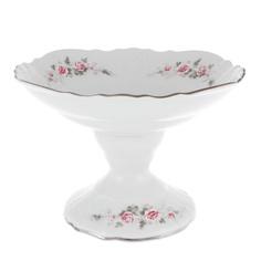 Салатник на ножке 25 см Thun1794 декор бледные розы, отводка платина