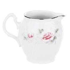 Молочник высокий 180 мл Thun1794 декор Бледные розы, отводка платина