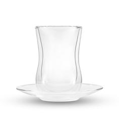 Набор Gipfel из 2 стеклянных стаканов с блюдцами, с двойными стенками.