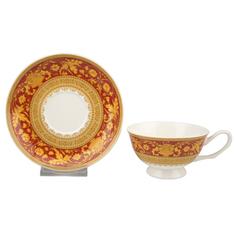 Набор чайных пар Top art Версаль Красное Золото 180 мл 2 шт