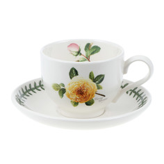 """Чашка чайная с блюдцем 200мл Portmeirion """"ботанический сад. Розы"""" """"джорджия, желтая роза"""""""