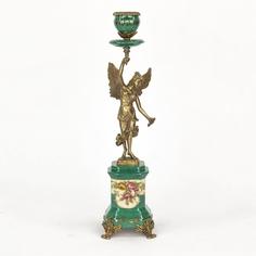 Подсвечник фарфоровый с бронзовой Никой 9х12х37 см Wah luen handicraft