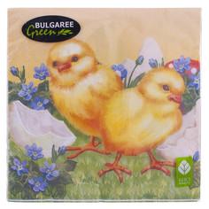 Салфетки 3-х слойные Пасхальные цыплята Bulgaree Green