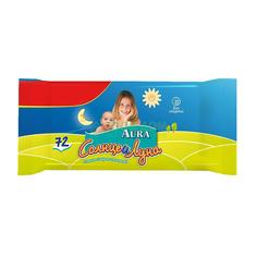 Aura Влажные салфетки для детей Солнце и Луна 72 шт