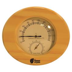 Термометр с гигрометром Банная станция овальный 16*14*3см в деревянном корпусе для бани и сауны /5 Банные штучки
