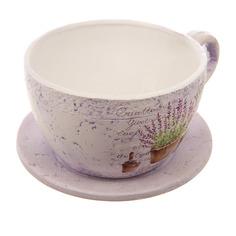 Горшок-чашка для цветов лаванда с поддоном d20.5 Dehua ceramic