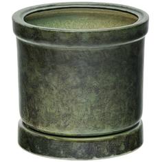 Горшок для цветов Элитная керамика цилиндр зеленый 15 см