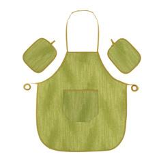 Набор Olibo green: фартук + 2 прихватки