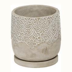 Горшок цементный цветочный Shuanyi дизайн кружево с поддоном, 14.5x14.5x14см