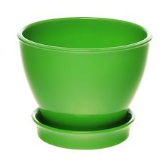 Горшок с поддоном керамический для цветов Керам Ксения глянец зеленый 9см