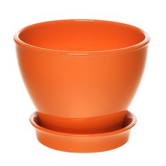 Горшок с поддоном керамический для цветов Керам Ксения глянец оранжевый 9см