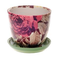 Горшок с поддоном Каменный цветок пионы розовые d17 2.5л