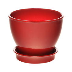 Горшок с поддоном керамический для цветов Керам Ксения глянец красный 12см