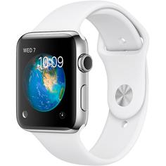 Умные часы Apple Watch Series 2 42 мм Stainless Steel Case with White Sport Band (MNPJ2RU/A)