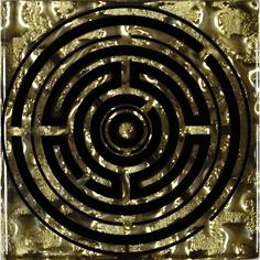 Декор Роскошная мозаика Лабиринт золото 6,6x6,6 см