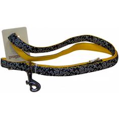 Поводок для собак GREAT&SMALL С принтом косточки 20х1200мм Черный