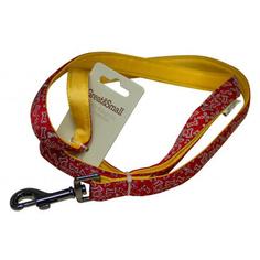 Поводок для собак GREAT&SMALL С принтом косточки 25х750мм красный