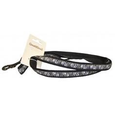 Поводок для собак GREAT&SMALL С принтом лапки 25х750мм черный