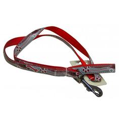 Поводок для собак GREAT&SMALL Светоотражающий 10х1200мм красный