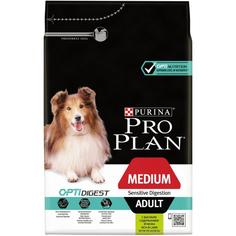 Корм для собак PRO PLAN Optidigest Adult средних пород с чувствительным пищеварением, ягненок, рис, 3 кг