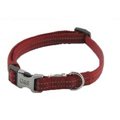 Ошейник для собак GREAT&SMALL Со светоотражающей острочкой 20х350-550мм красный