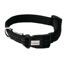 Ошейник для собак GREAT&SMALL Со светоотражающей острочкой 20х350-550мм черный