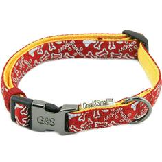 Ошейник для собак GREAT&SMALL с принтом косточки 20х350-550мм нейлон красный