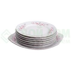 Набор для торта Concordia Bernadotte декор Бледные розы отводка платина 7 предметов 6 персон